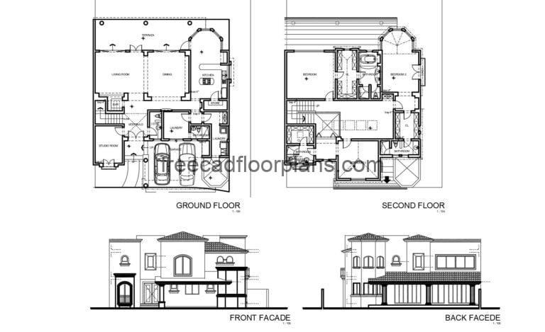 Classic Style House Autocad Plan, 2604202