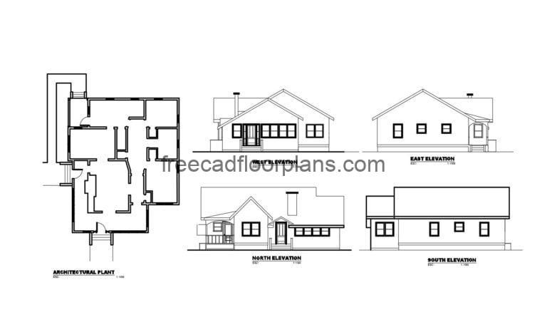 Country House Autocad Plan, 2704201