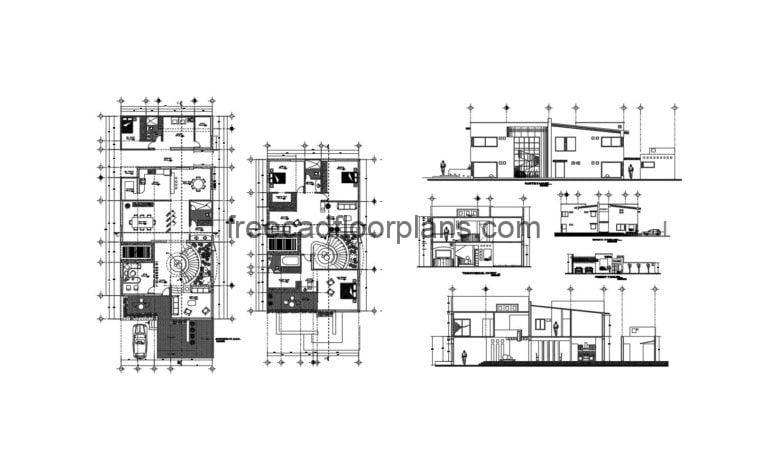 Two-story House, Full Project Autocad Plan 1604201