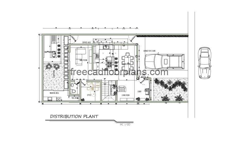 One-story House Autocad Plan 1904201