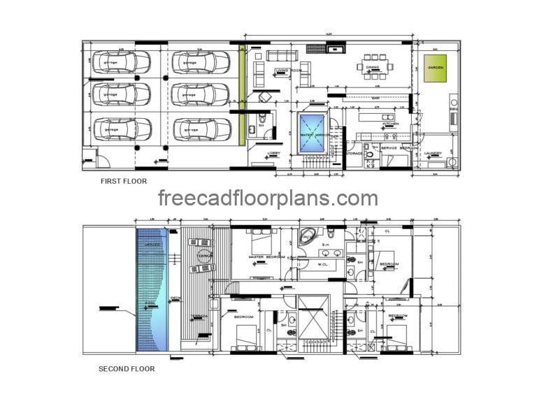 Two-story modern Residence Autocad Plan, 2504202