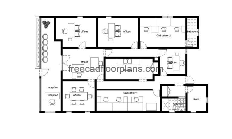 Call Center Offices Autocad Plan 412202