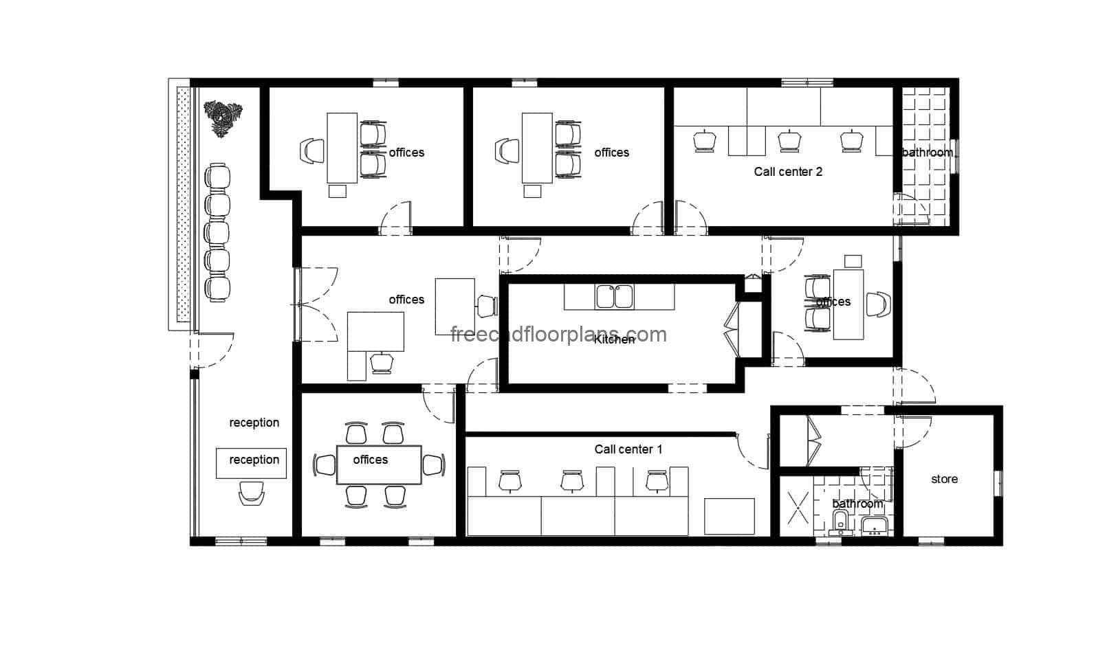 Call Center Offices Autocad Plan 412202 Free Cad Floor Plans