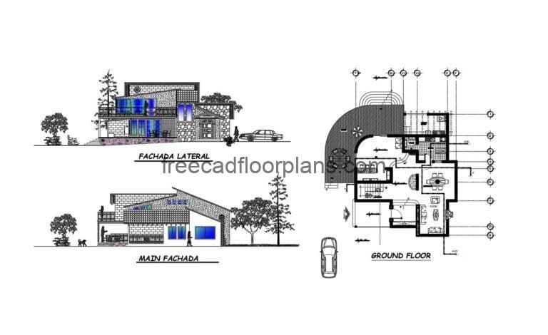 Country house Autocad Plan, 2204202