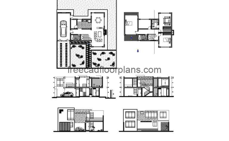 Modern two-story House Autocad Plan 1904201