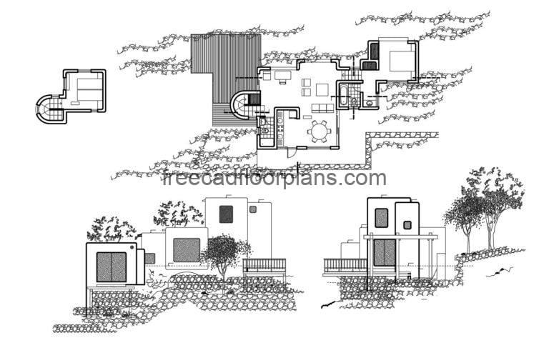 Contemporary style house Autocad Plan, 2904202