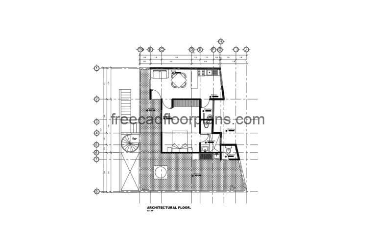 Small House, One Bedroom Autocad Plan 2104202