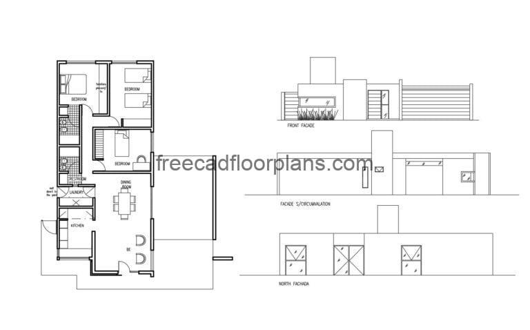 One-story house Autocad Plan, 2304202