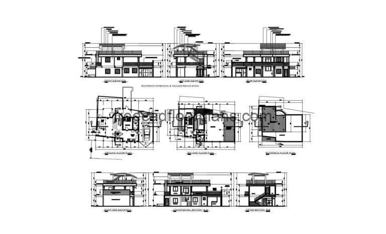 Sloped Roof House, Full Project Autocad Plan 1504203