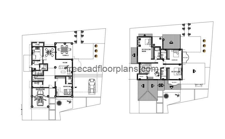 Two-story House Autocad Plan 2104201
