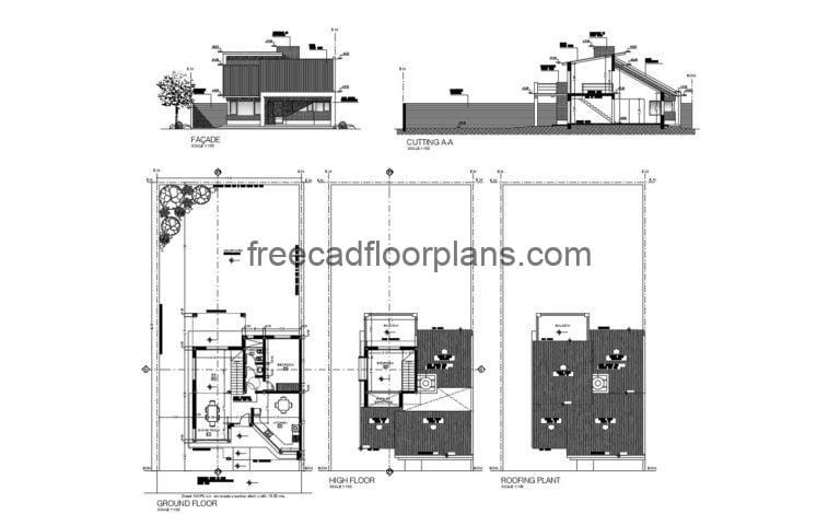 House, Two Bedroom Autocad Plan 2104203