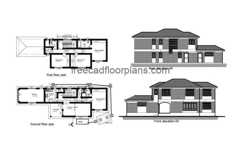 Two-story House Autocad Plan, 2904201