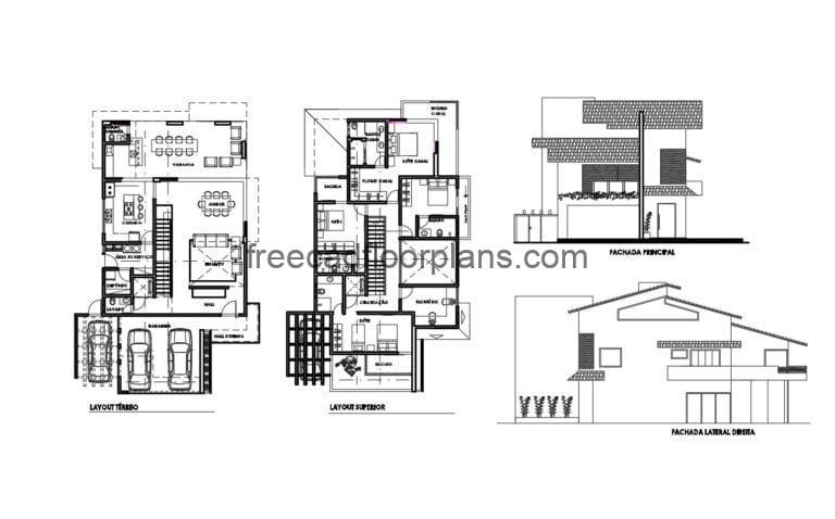 Two-story Residence Autocad Plan, 2504201