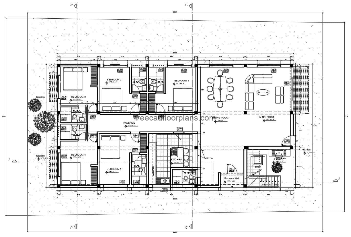 beach house architectural plans with fully editable autocad blocks