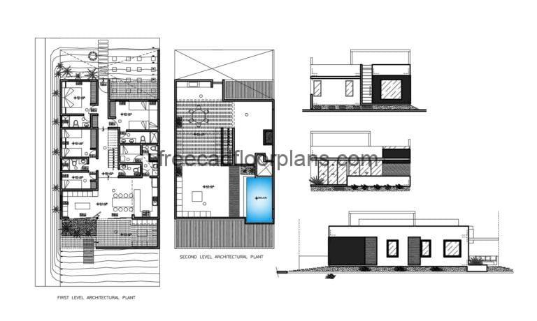 Modern House With Rooftop Swimming-pool Autocad Plan, 305201