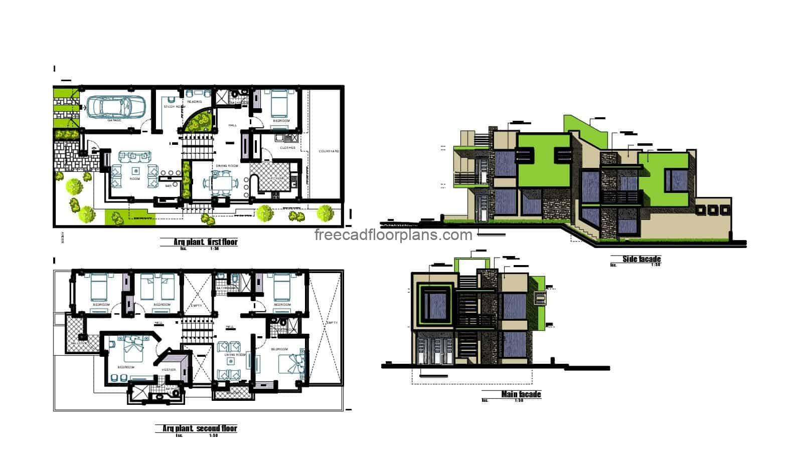 Architectural project of a modern two-storey house, furnished and detailed design with DWG blocks, several rooms in private area on second level, elevations and sections, architectural details