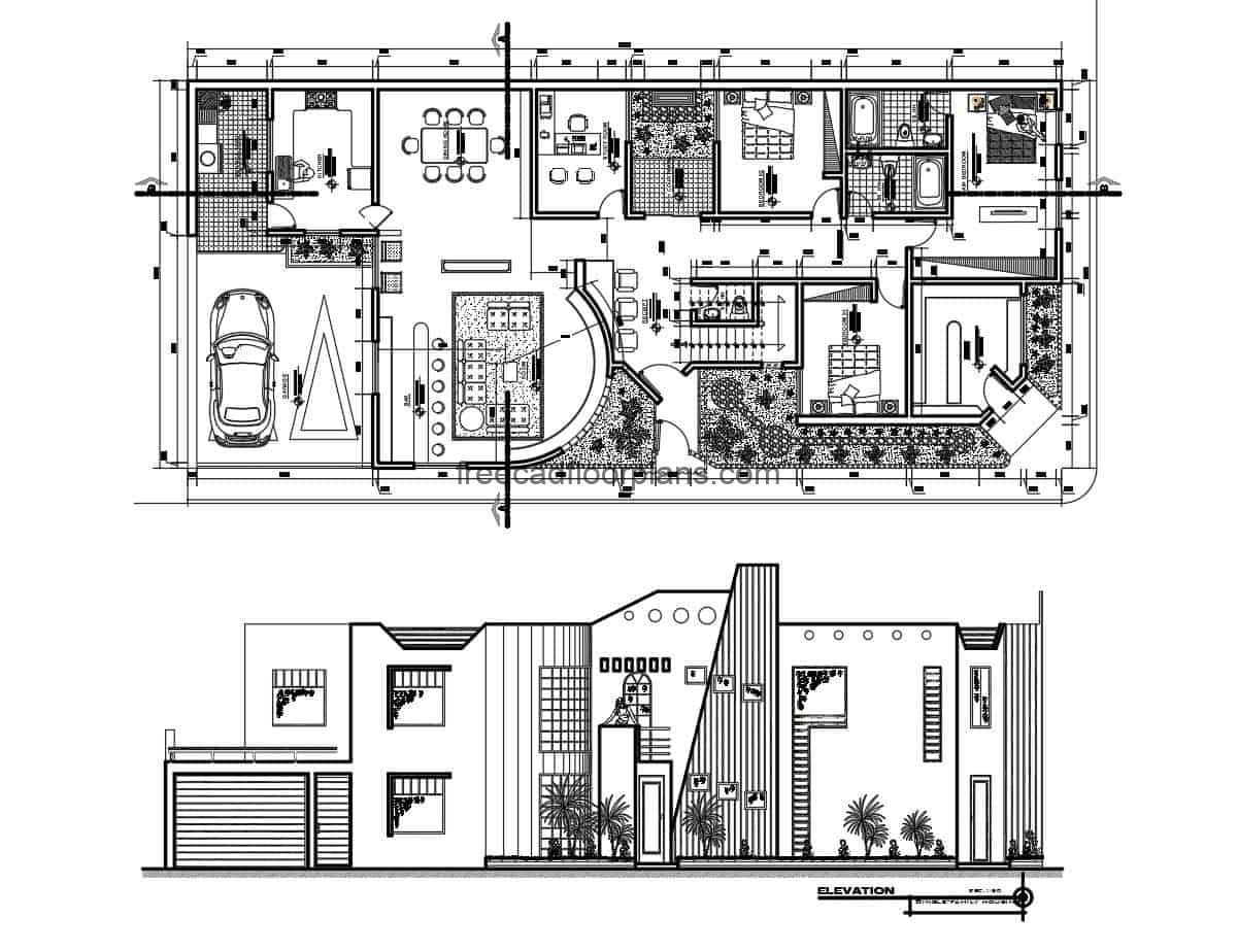 Architectural project of a contemporary two-storey residence, architectural plan, dimensioned, sections, elevations and details in autocad DWG format