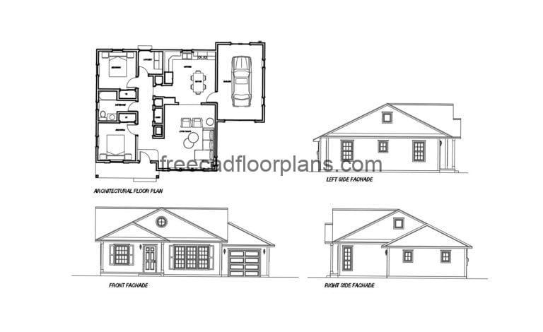 Small Country House Autocad Plan, 605201