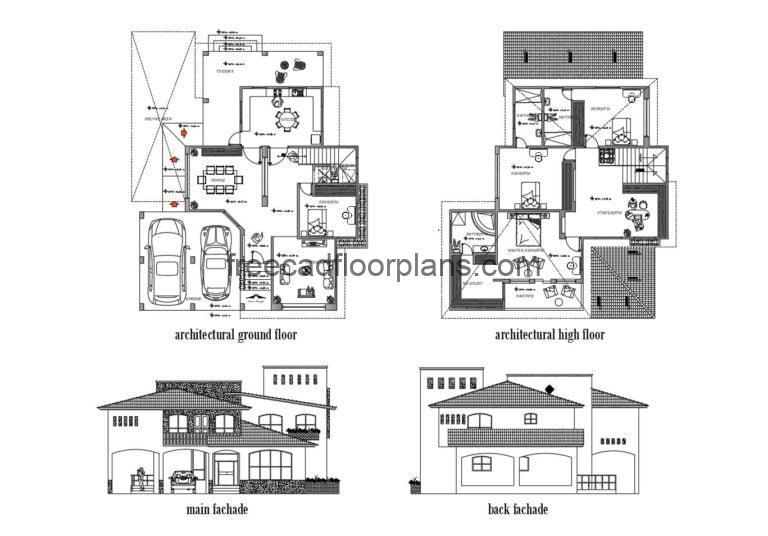 Two-storey House With Sloping Roofs Autocad Plan, 505201
