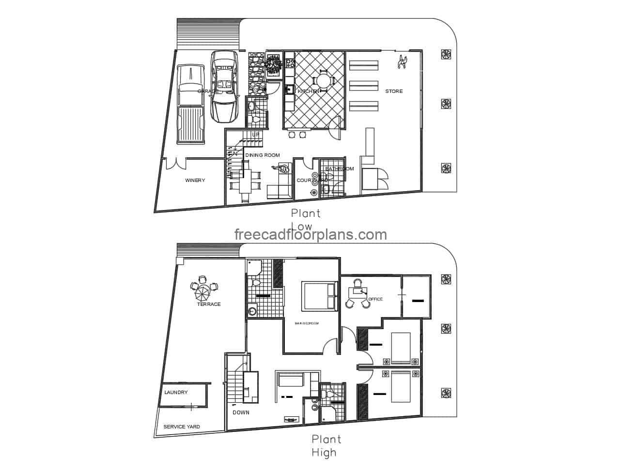 Architectural design of a modern two-level house with a two-car garage in autocad format