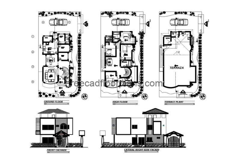 Two-storey house with terrace Autocad Plan, 405201