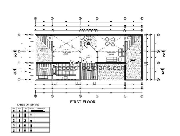 Two-storey Residence With Spiral Staircase Autocad Plan, 2405201