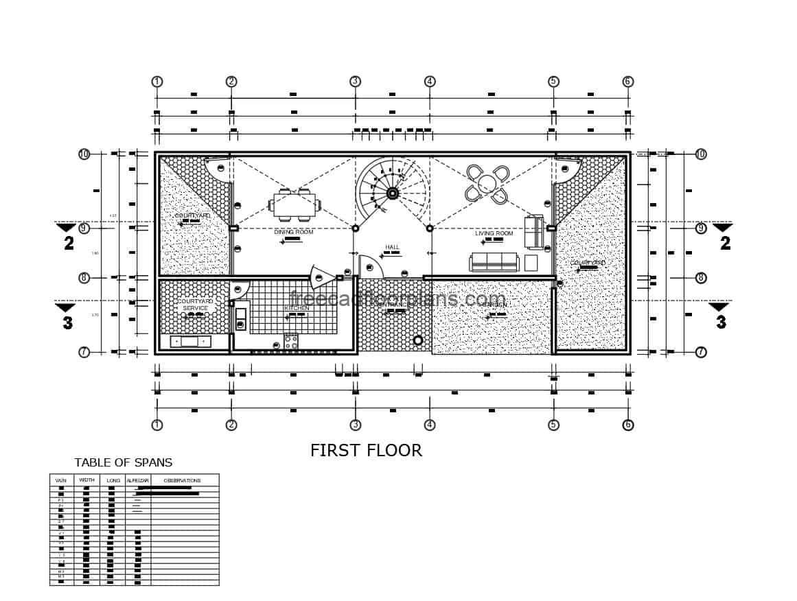 Architectural plan of a two-level house surrounded by green areas, technical details in autocad DWG format, wall axes, sanitary and electric plan.