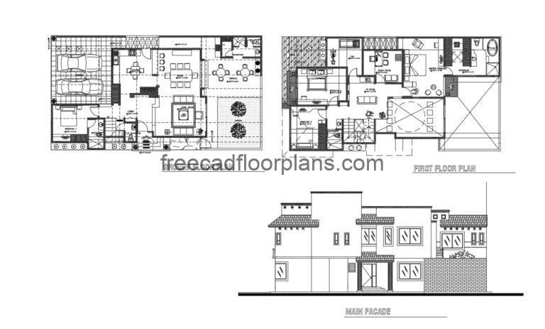 Two-storey Residence Autocad Plan, 305202