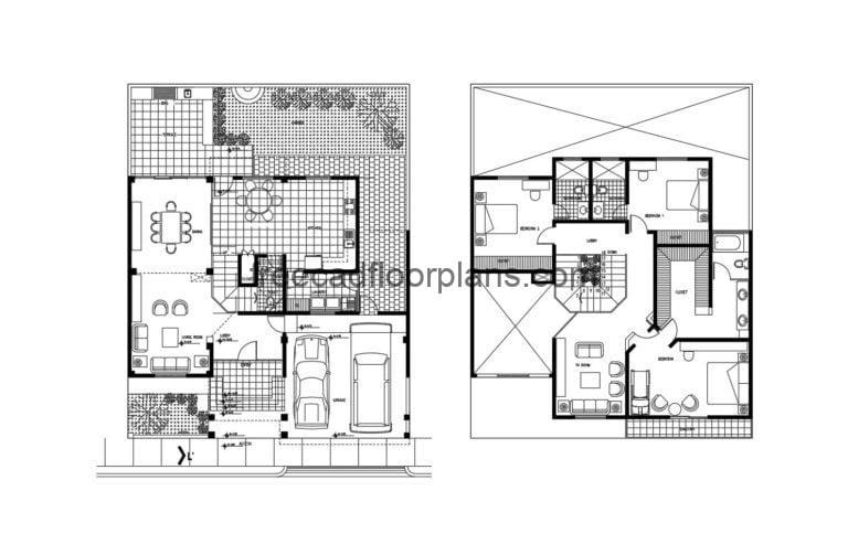 Two-storey Residence Autocad Plan, 405202
