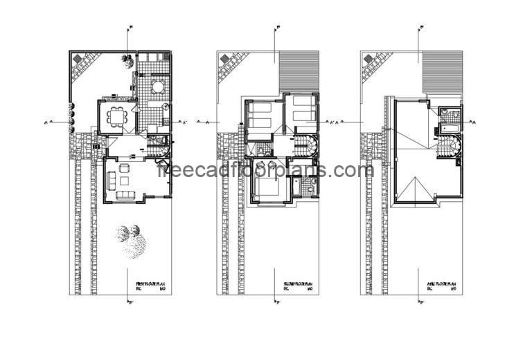 Two-storey House With Attic Autocad Plan, 1405201