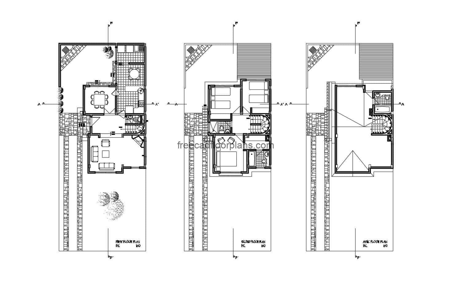 Complete architectural design of Two story house with attic with pitched roofs, internal layout cad blocks DWG
