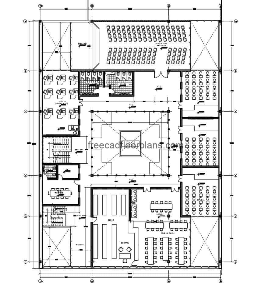 Complete architectural project of a multi-level school, defined spaces and furnished drawing with autocad DWG blocks, distribution and dimensioning plans