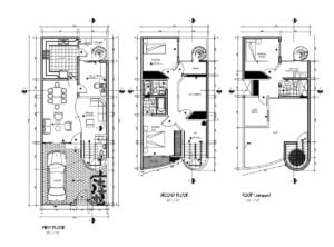 Architectural project of two-level residence with three rooms and terrace, complete plans in autocad, technical details