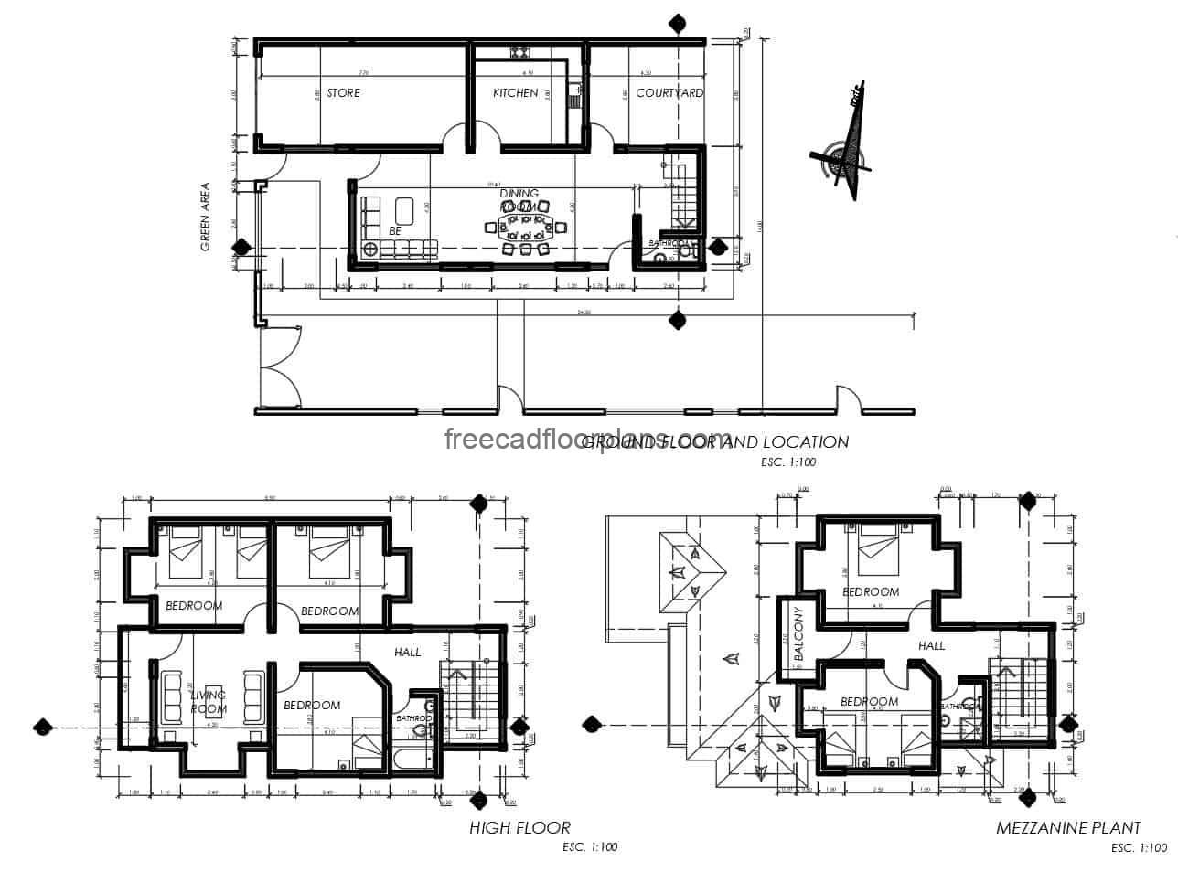 Modern house project with some classic details, two levels with mezzanine, blocks in DWG, distribution of interior spaces