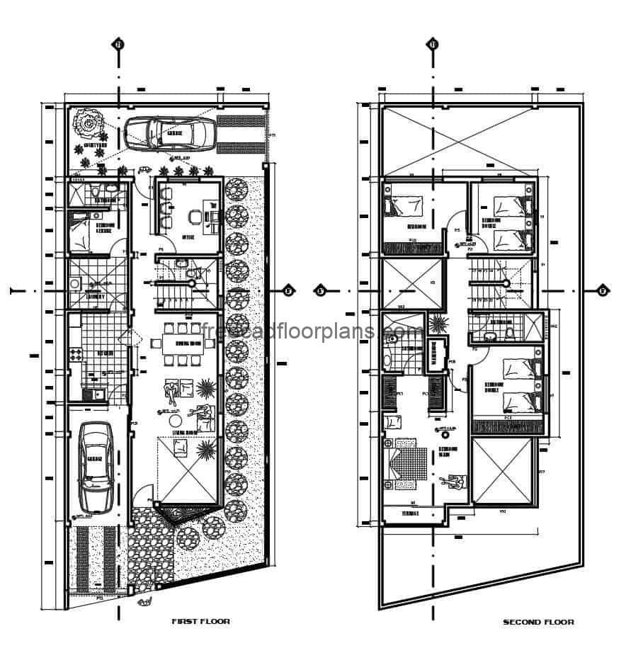 Architectural project of a two-storey house with a side garden and four rooms, plans that can be edited in DWG format