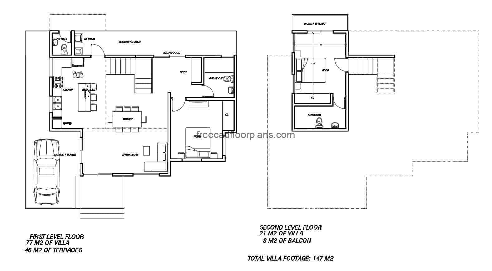 Architectural and detailed layout plan in autocad format of a country house with loft and garage for one vehicle