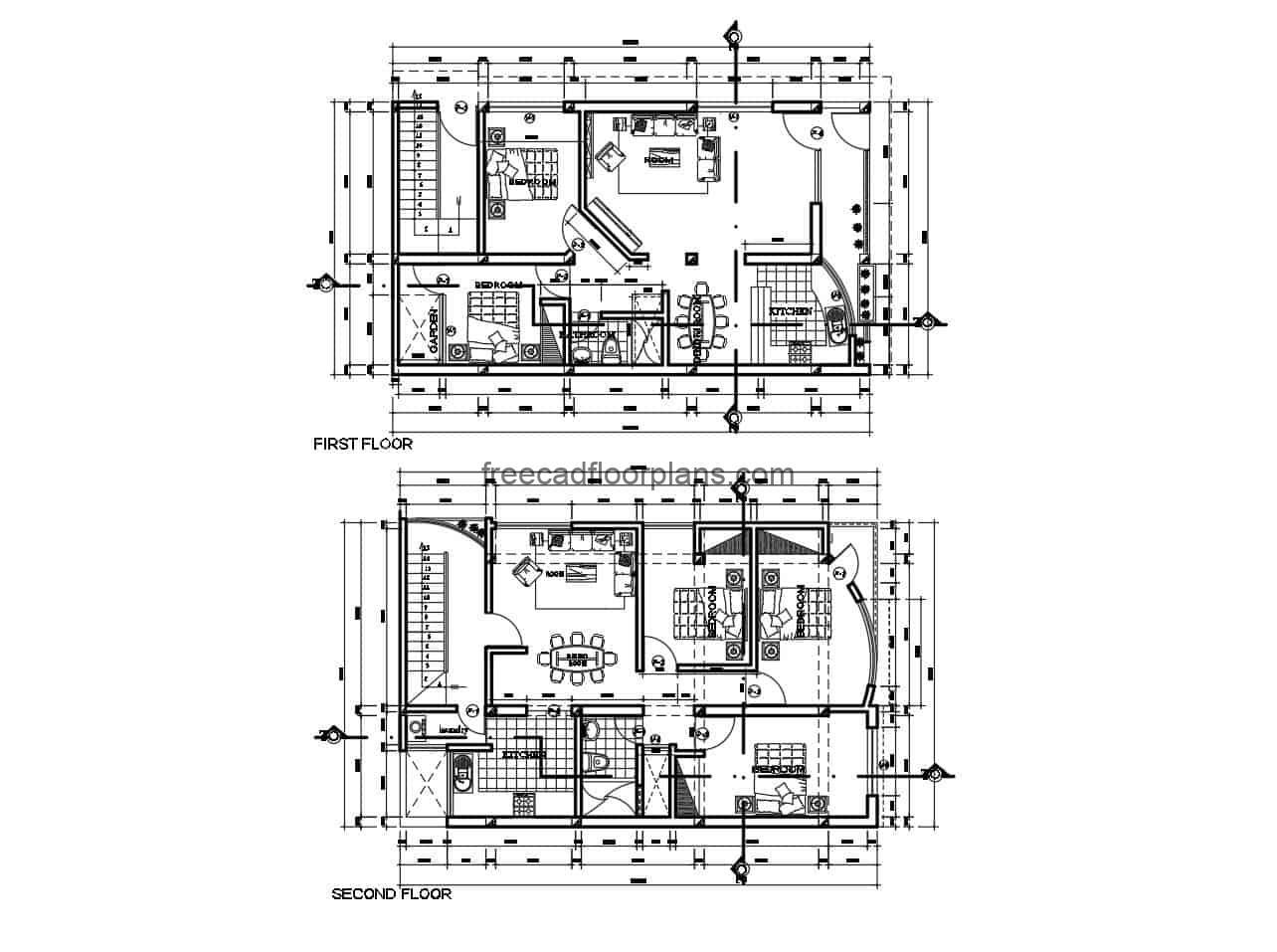 Architectural design of rectangular house on two levels with autocad interior blocks