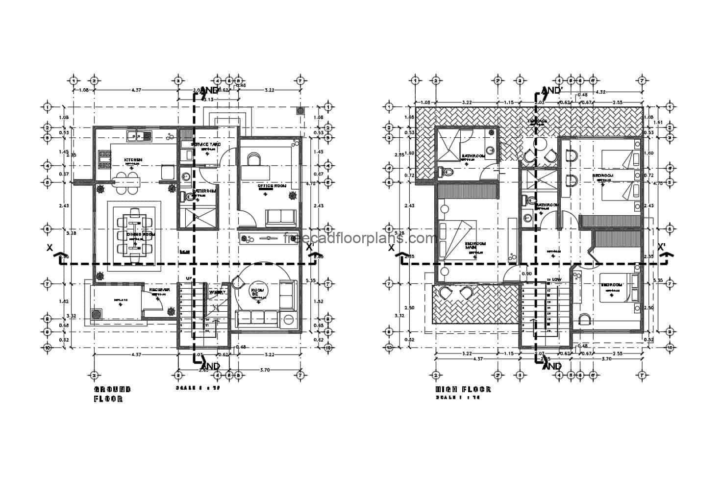 Architectural project of two-level residence, plans drawn in autocad, with interior blocks in DWG, the house has three rooms and a social area on the first level