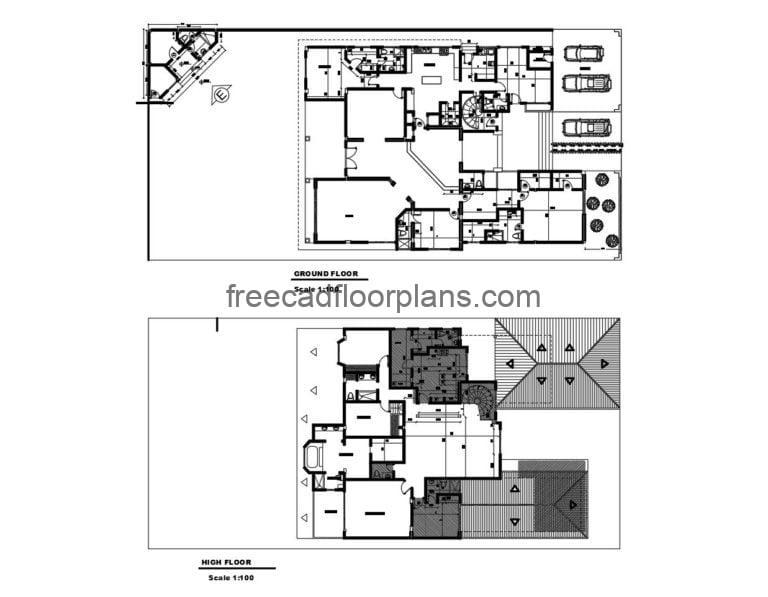 Two-storey Residence Autocad Plan, 805201