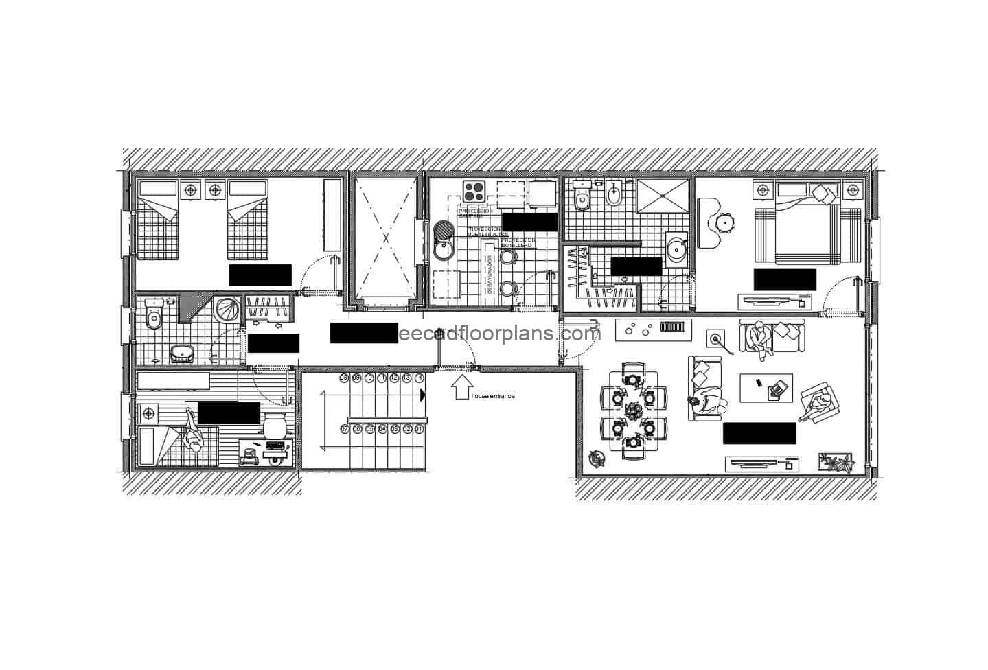 Simple residential block architectural design in autocad format, two rooms, living room, kitchen and dining room, architectural plan and dimensioned, architectural details