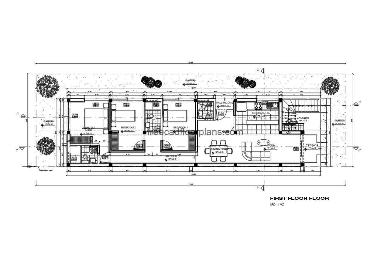 architectural plan drawing of one level beach house, details and furniture blocks DWG