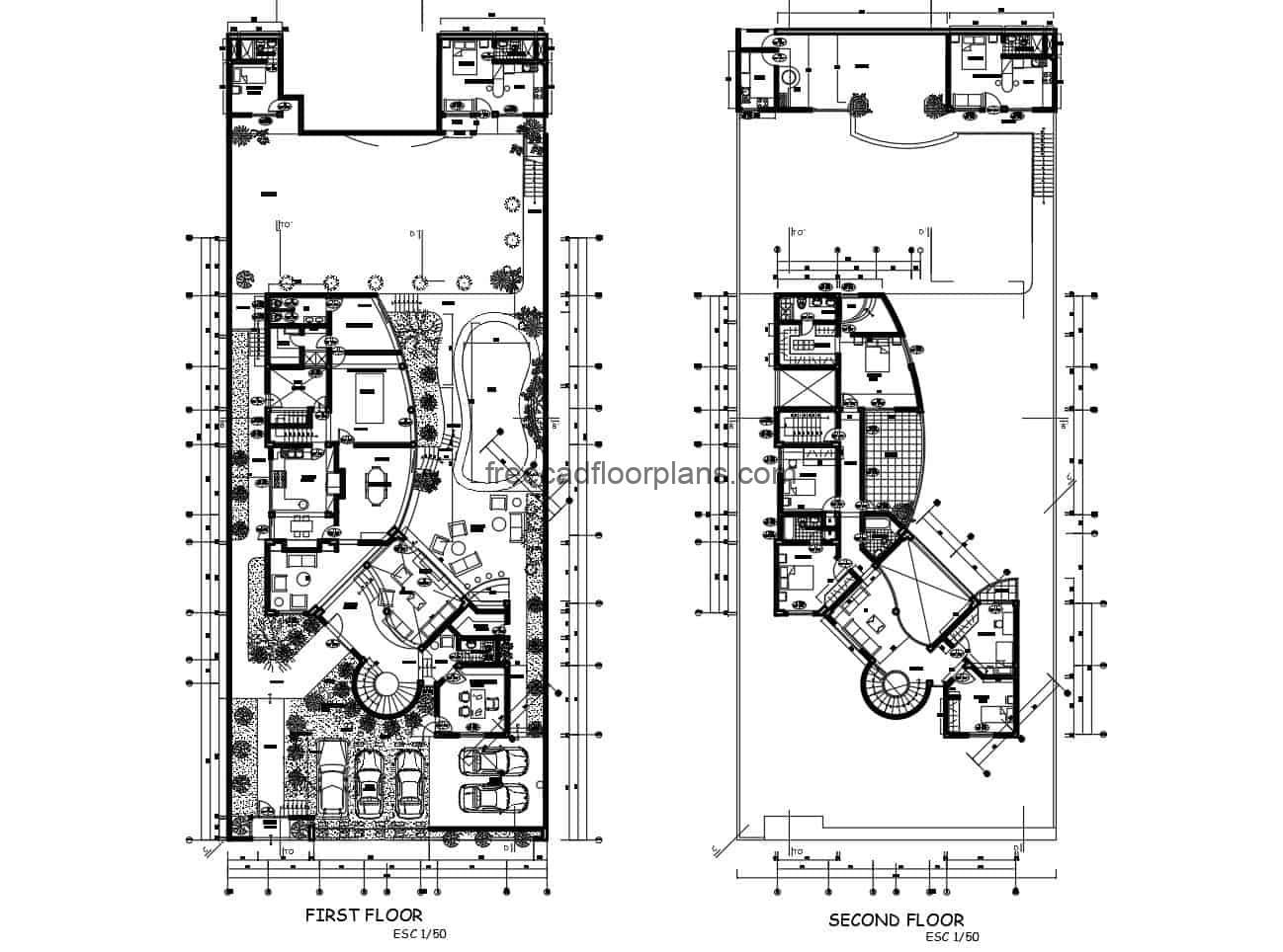 house on slope complete detailed architectural project drawn in autocad plans with DWG blocks