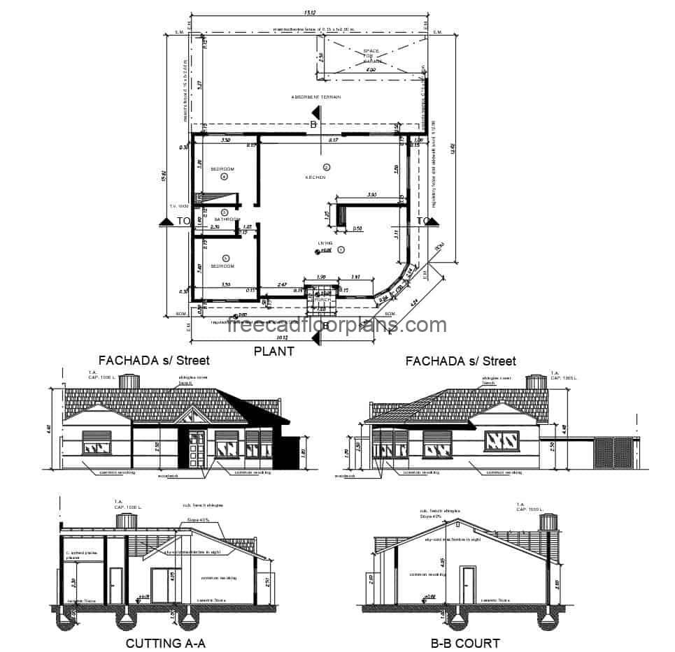 Design of a small country house on one level, architectural plan in DWG format, dimensioned plan, foundations and structural details