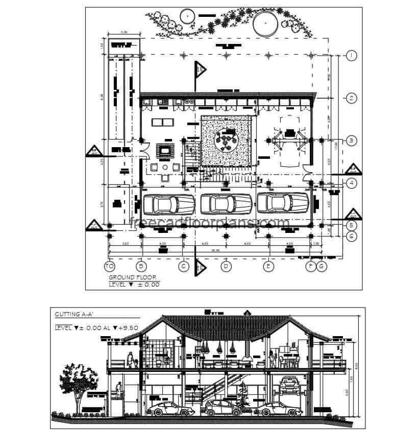 Plans and architectural details of country house, details and blocks in autocad DWG format