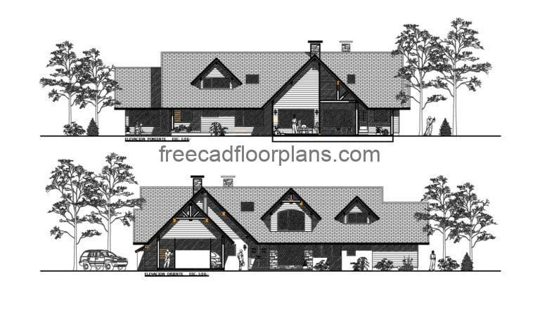 Country House Autocad Plan, 205201