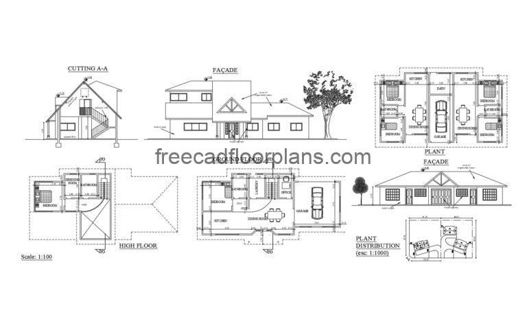 Country House complex Autocad Plan, 1305201
