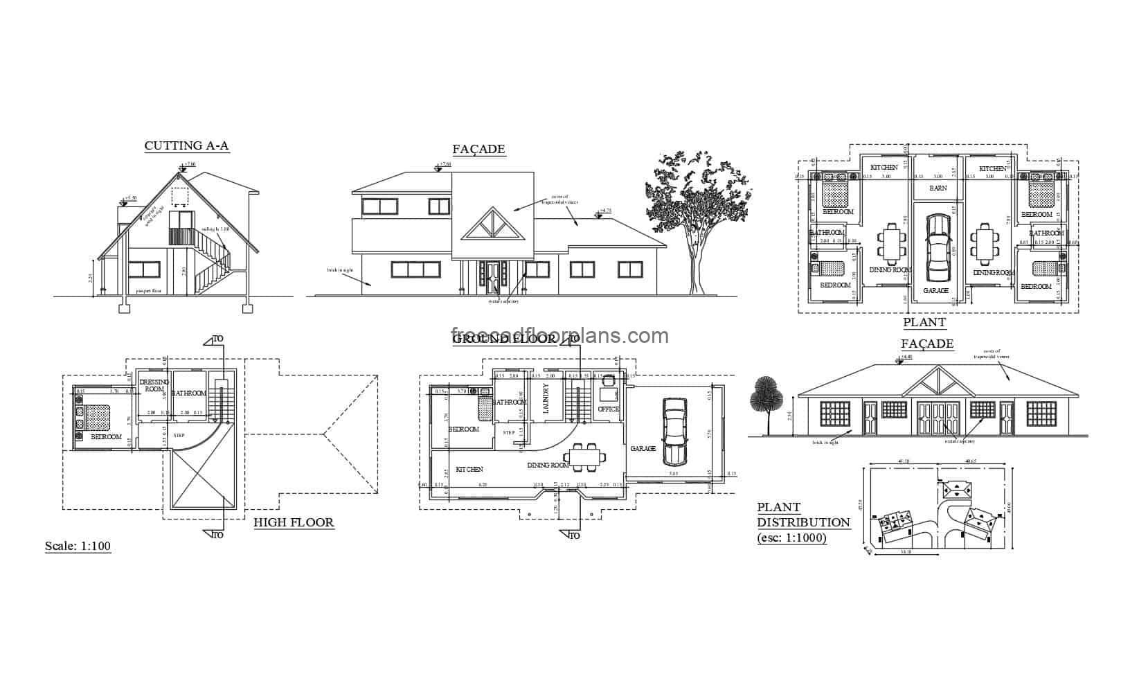 free plans to download simple one-level country house, architectural plants and facade details in autocad