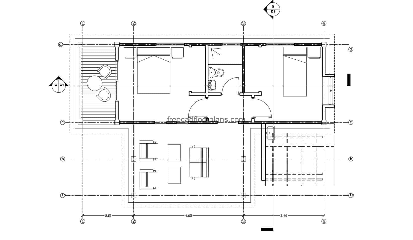 Bungalow house with two bedroom architectural DWG project