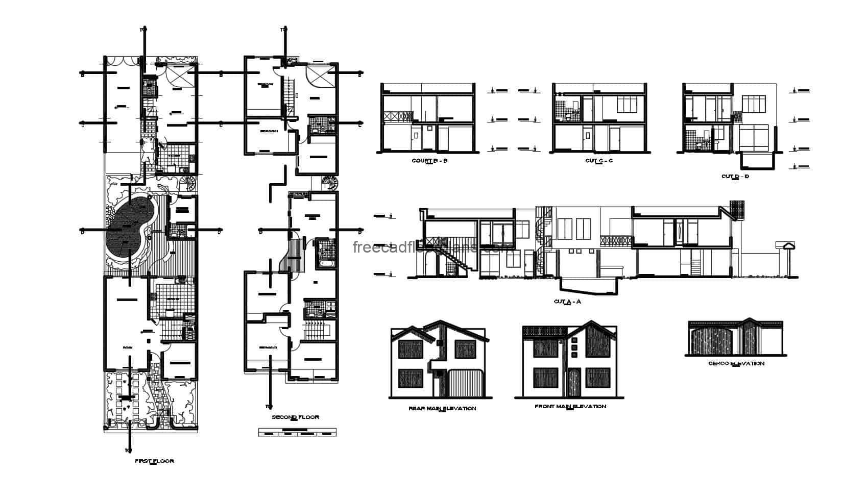 Architectural project of an elongated house with plans distributed on two levels, elongated design in DWG with blocks and details of the interior spaces