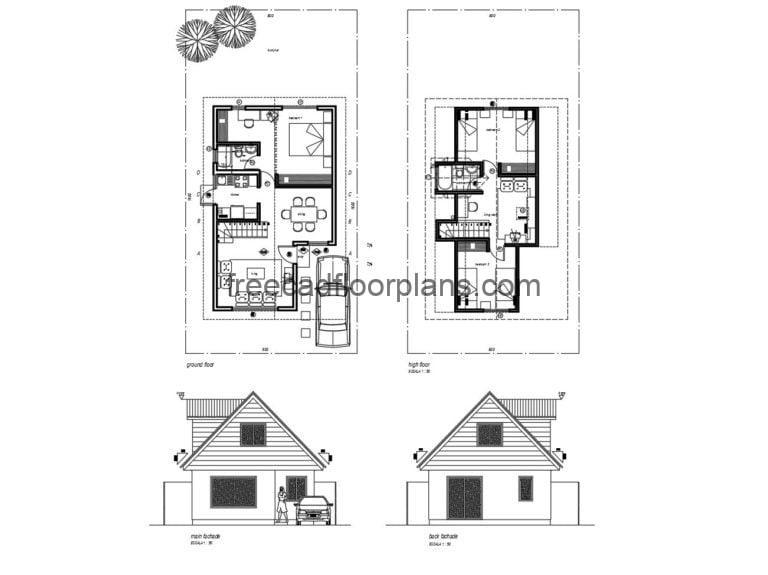 Small Elongated Two-storey House Autocad Plan, 505202